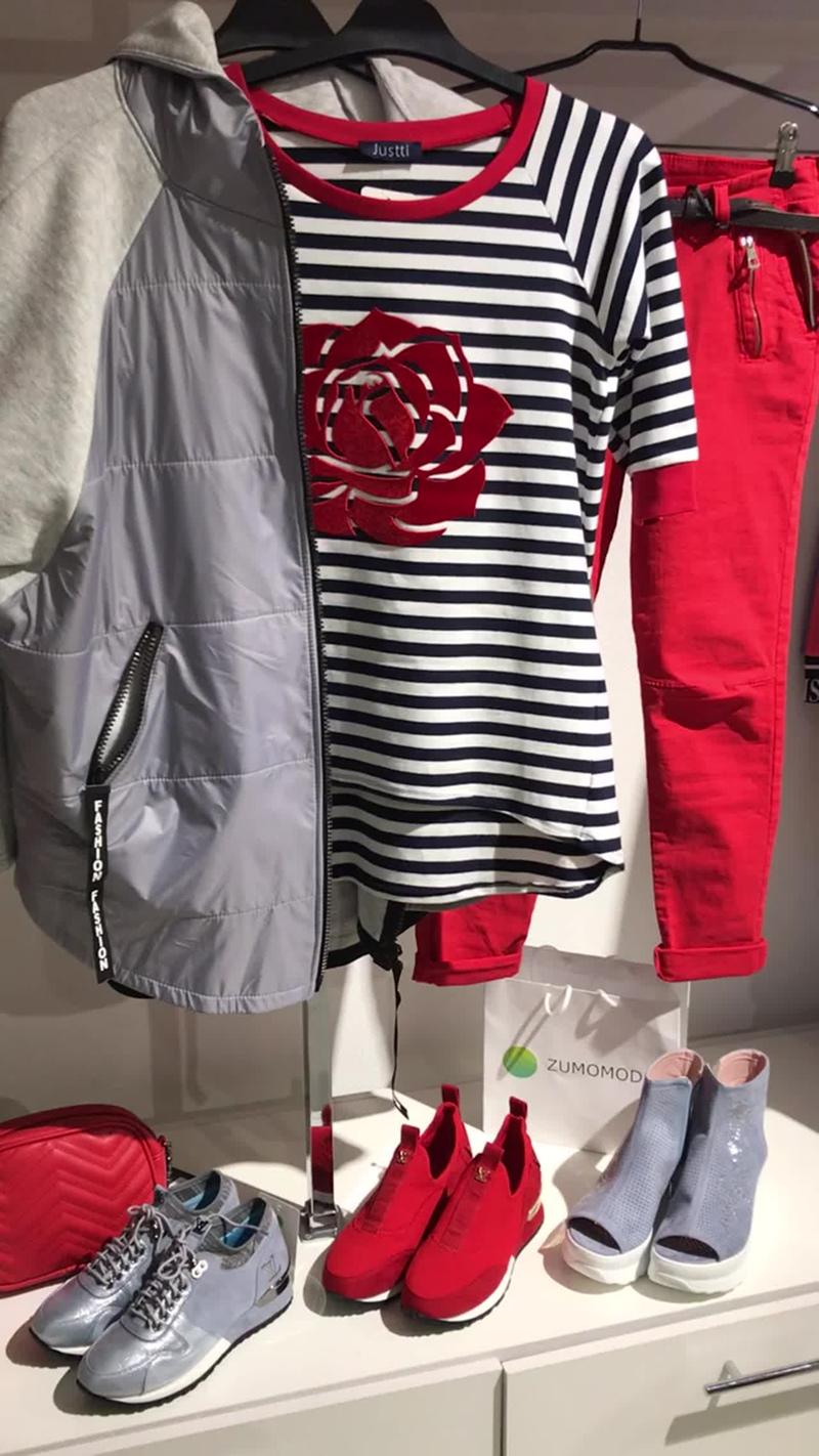 Толстовка куртка серая футболка полоска цветок красный