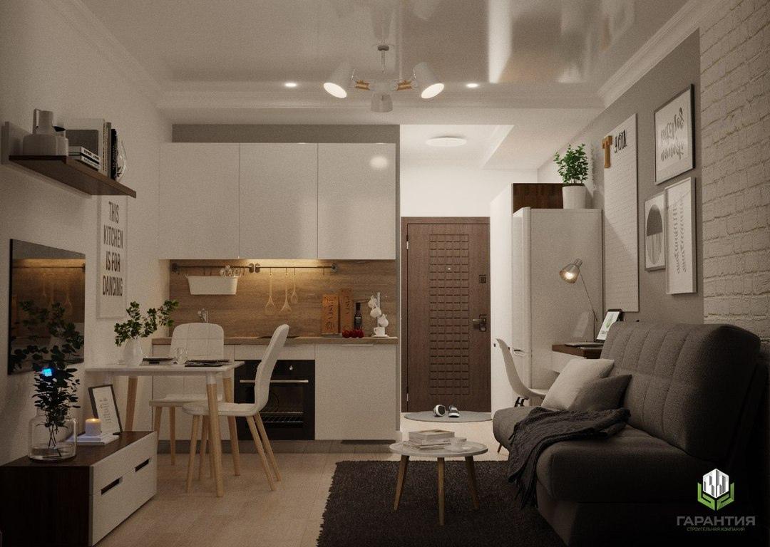Концепт маленькой квартиры-студии 20-22 м в скандинавском стиле от краснодарского застройщика СК Гарантия.
