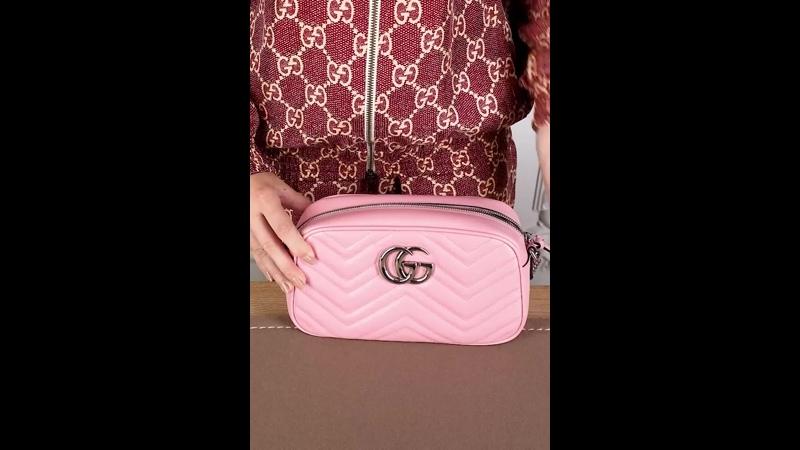 Женская сумочка Marmont от Gucci из натуральной нежно розовой кожи