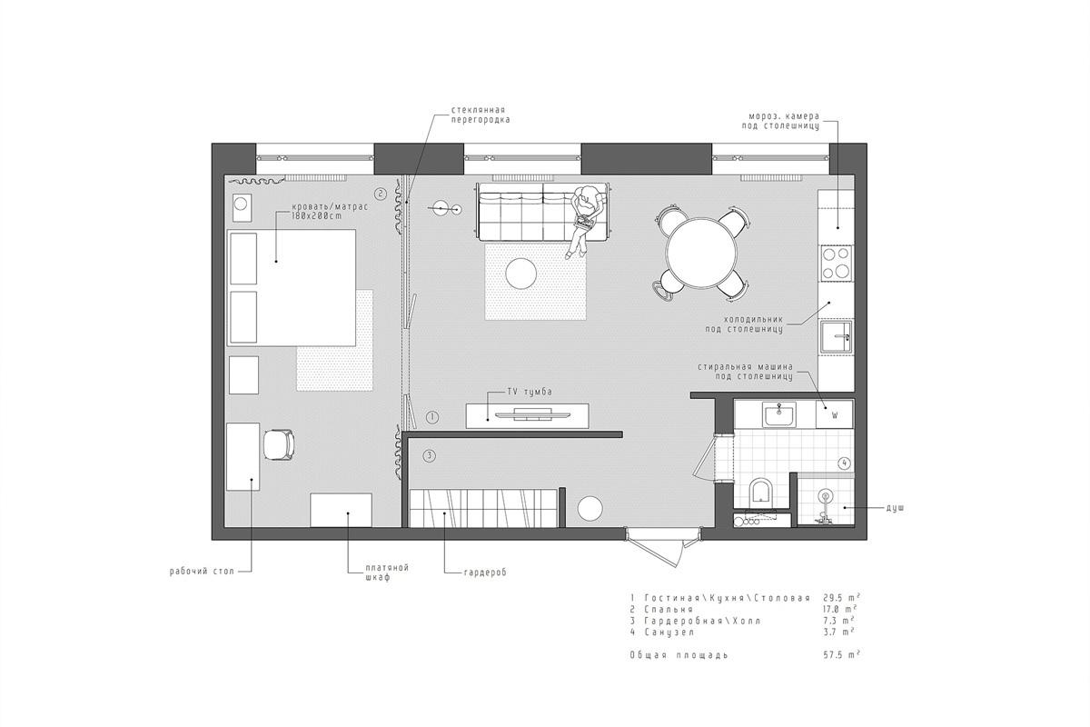 Интерьер квартиры 58 кв.