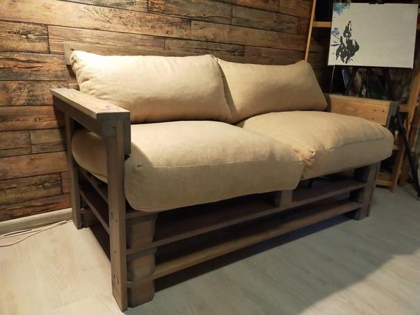 Продам диван из полированной доски и бруса (имитац...