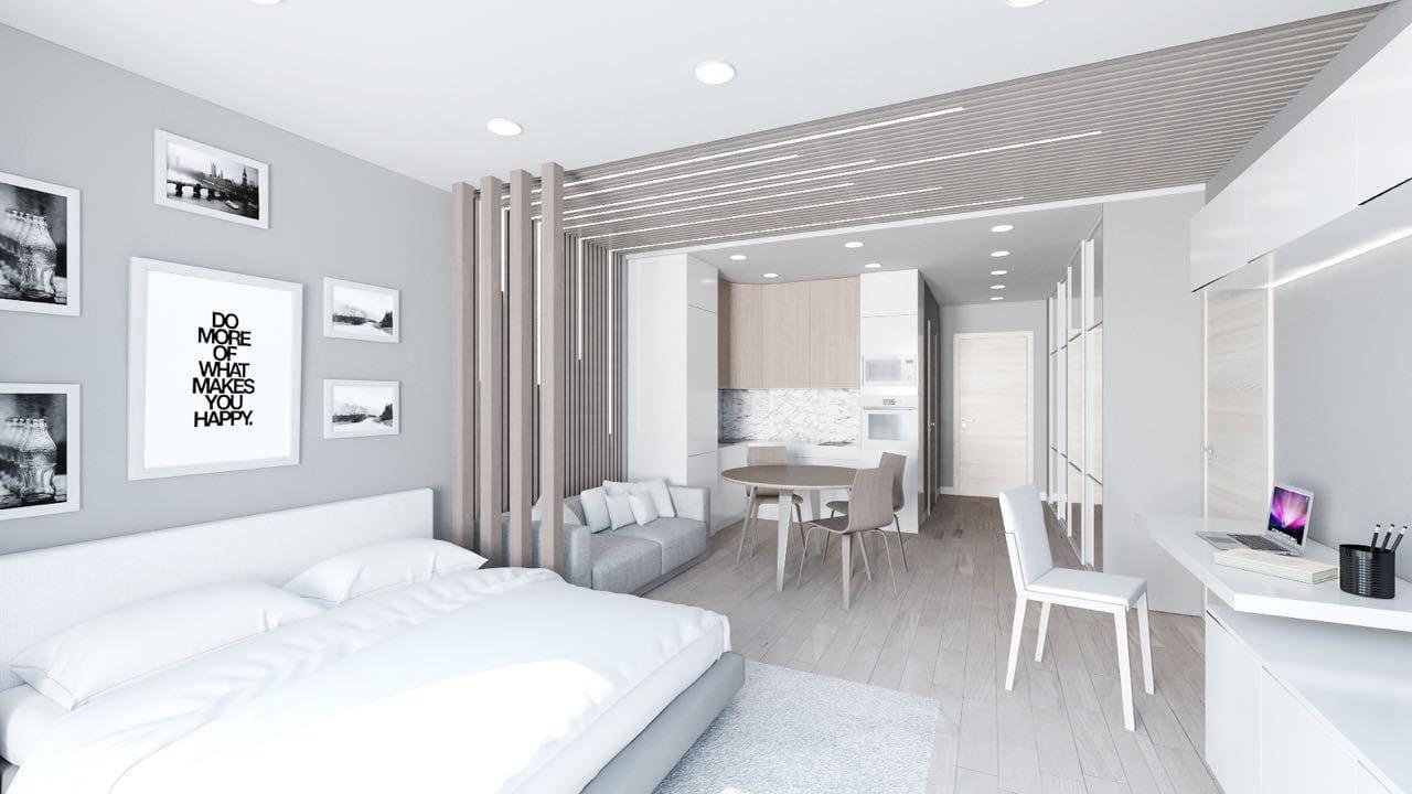 Проект квартиры-студии в скандинавском стиле.