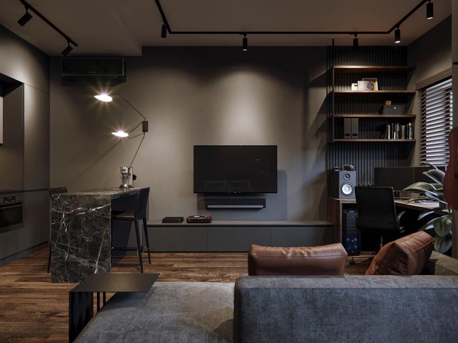 Проект квартиры 44,5 м для холостяка.
