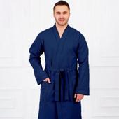 Вафельный мужской халат - темно-синий
