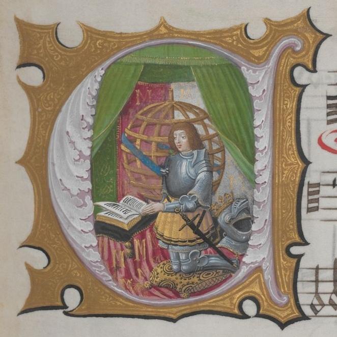 Мануэль I, иллюстрация в королевском градуале, ок. 1500 года. Австрийская национальная библиотека