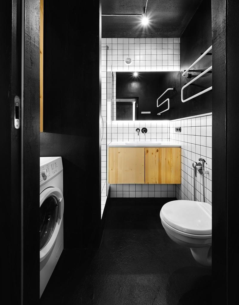 Черно-белый интерьер квартиры 42 кв.
