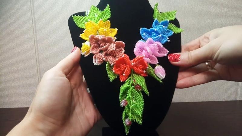 Колье Цветы Портулак Handmade jewelry Necklace Portulak Flowers Natalya Istranina