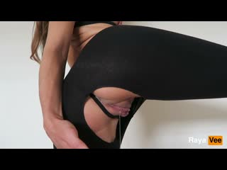 [ Raya Vee ] Horny Dripping Pussy Girl Masturbates In Ripped Yoga Pants