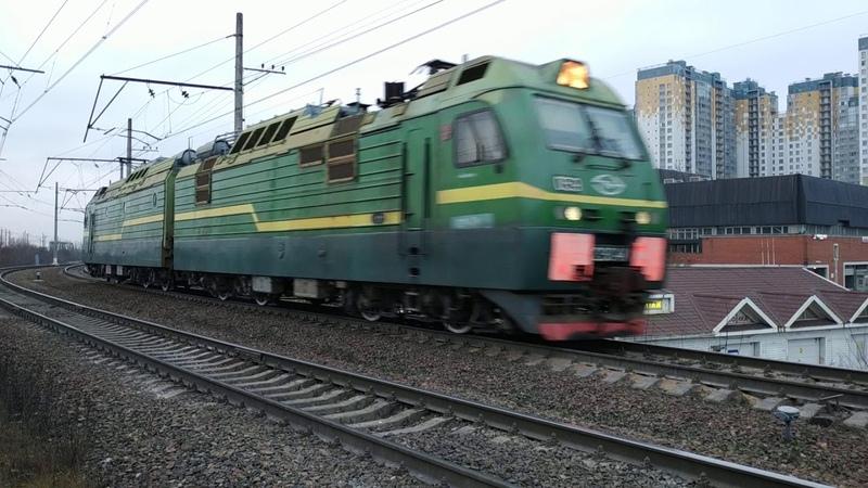 Электровоз 2ЭС4К 059 перегон Предпортовая Автово г СПб 29 11 2020г