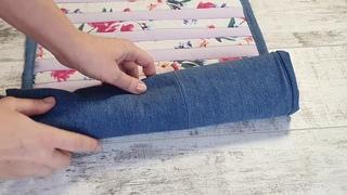 Коврик из джинсов своими руками. Как сшить коврик для ванной из джинсов? Коврик для пикника. Diy