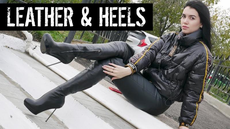 Nana's Nando Muzi platform stilettos heels black leather thigh high boots Size 38EU 6 5US