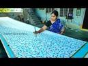 3 and off metre cross Pallu painting design on new Kerala cotton saree || amoeba painting on saree