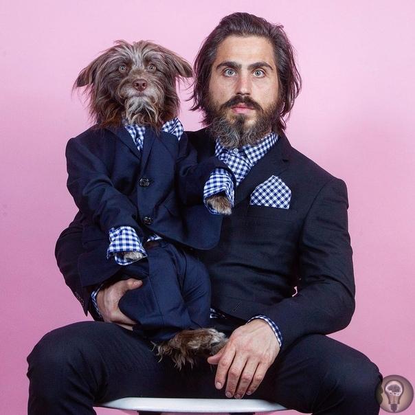 Я, СНОВА Я. Ч.-1 Художник из Нью-Йорка Тофер Брофи так сильно любит своего пса Розенберга, что одевает его в такие же наряды, которые носит сам. Учитывая, что Брофи любит странную одежду, вместе