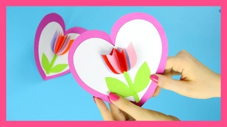 Tulip in a Heart Card - step by step Valentines day or Mothers day card tutorial