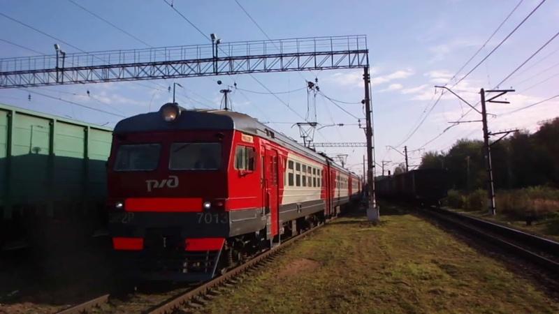 Прибытие ЭР2Р 7013 в Бекасово 1 и встречный грузовой из Пожитково