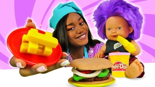 Play-Doh burger & Play-Doh French Fries for Baby Doll. Toy videos for kids.
