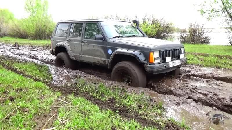 Нива Шеви Нивы Джип Чероки Гранд Чероки Jeep Cherokee по грязи и в крутую гору